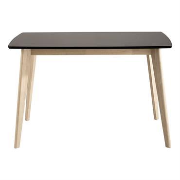 Avec ses dimensions, cette table à manger noire pourra convenir pour meubler un petit espace. Moderne avec ses pieds élancés en bois clair, cette table à dîner s'invitera facilement dans ...