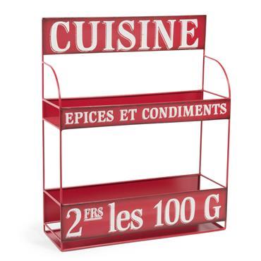 Support à épices en métal rouge H 43 cm BROCANTE