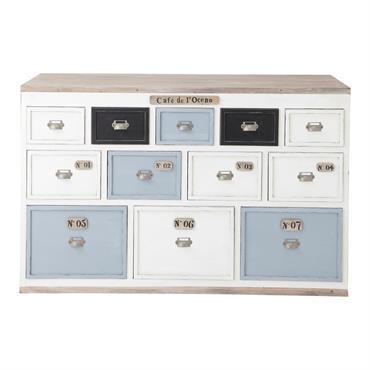 Comptoir multi tiroirs meuble de métier en bois blanc L 133 cm Molene