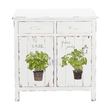 La nature envahit votre intérieur avec le buffet blanc Aromates. Ce petit meuble en bois blanc est doté de deux tiroirs et deux portes à impressions végétales. Travaillé avec un ...