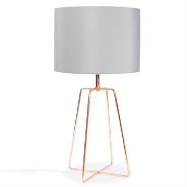 Lampe en métal cuivré et abat-jour gris H 49 cm CROSSY COPPER