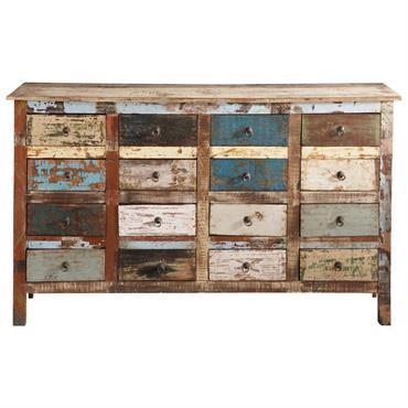 Comptoir en bois recyclé multicolore Calanque