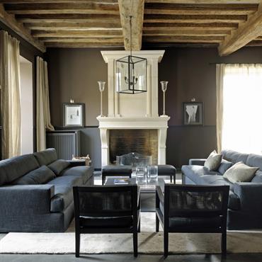 Salon avec canapé cendre, poutres apparentes en bois naturel.