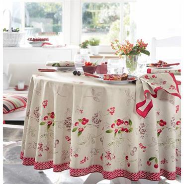 50% coton, 50% polyester Lavable à 40° Motifs imprimés placés su fond coloris lin, finition bourdon