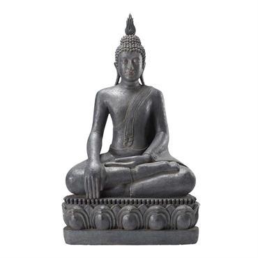 Statue Bouddha assis en résine grise H 150 cm