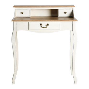 Complétez votre déco de chambre romantique avec le bureausecrétaire LÉONTINE !Ce petit bureau allie le pin massif à la patine couleur crème. Monté sur des pieds joliment galbés, ce petit ...