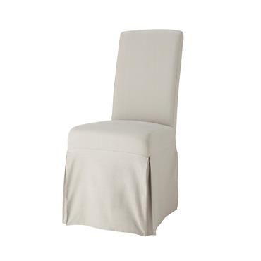 Housse longue de chaise en coton gris clair Margaux