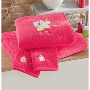 Eponge 100% coton, 450 g/m² Lavable à 60° Eponge uni avec motif floral appliqué et brodé