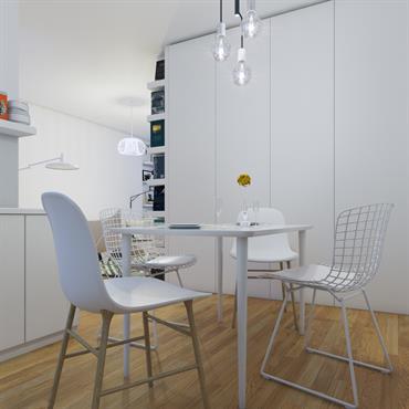 Décoration moderne et pratique d'une cuisine blanche