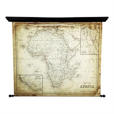 Carte d'Afrique en toile effet vieilli 126 x 154 cm EXPLORA