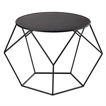 Table basse ronde en métal noire Prism