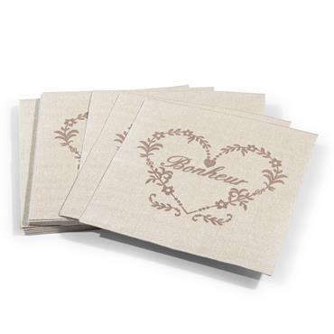 Paquet de 20 serviettes en papier beiges 17 x 17 cm BONHEUR