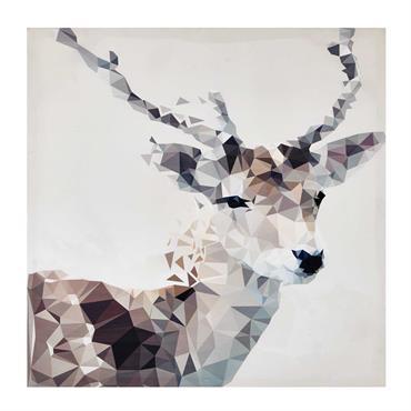 Graphique, la toile cerf 76x76 SVEN invite la nature dans un esprit revisité, typique du design scandinave. Ce tableau illustre un cerf à travers différentes formes géométriques assemblées pour un ...