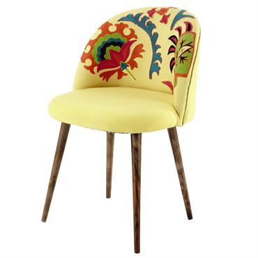 Chaise vintage en coton brodé et bois de sheesham jaune Mauricette