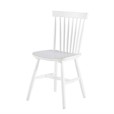Chaise vintage en hévéa blanche Fjord