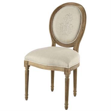 Chaise médaillon en lin beige et chêne grisé Louis