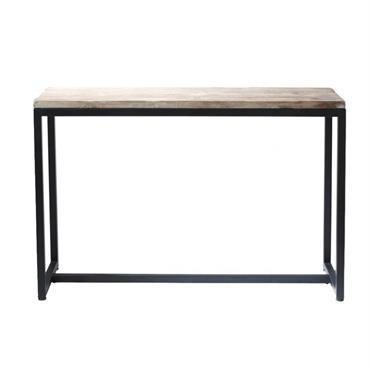 Table console indus en métal et bois massif noire L 119 cm