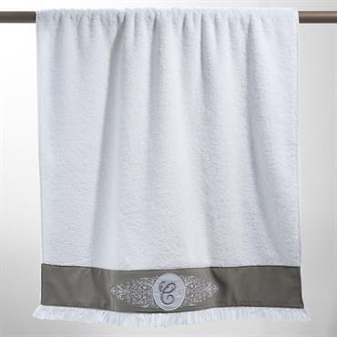 Serviette de bain en coton blanche 70 x 140 cm COLLECTION C