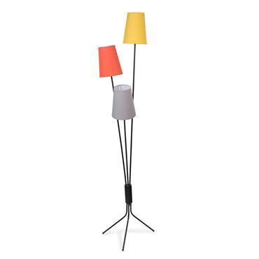 Lampadaire triple en métal et tissu gris/noir/jaune H 155 cm SVEA