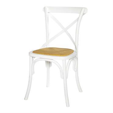 Chaise bistrot en rotin et bouleau blanc Tradition