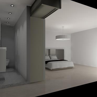Projection 3D de l'avant projet de la salle de bains