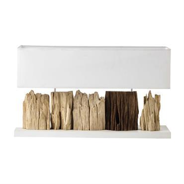Lampe en bois et abat-jour en coton blanc H 46 cm PRANBURI