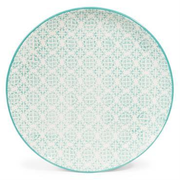 Assiette plate en faïence blanche motifs graphiques bleus