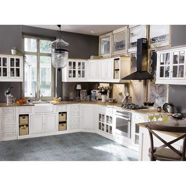 Meuble bas d'angle de cuisine ouverture droite en manguier blanc L 133