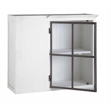 Meuble haut d'angle de cuisine ouverture gauche en bois recyclé blanc