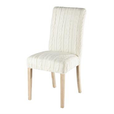 Housse de chaise tricotée blanche Margaux