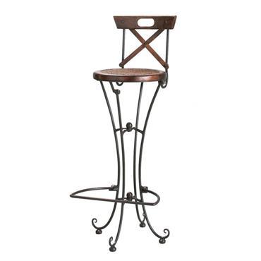 Chaise de bar en bois de sheesham massif et fer forgé Luberon