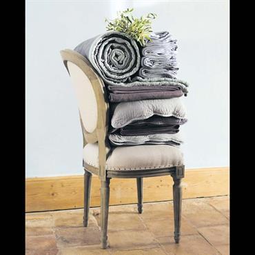Chaise médaillon en coton et chêne massif écrue Louis