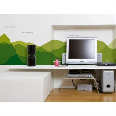 Papier peint Worldwide Skyline / 1 lé - Domestic vert en papier