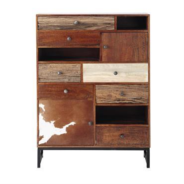 Doté de multiples rangements, ce cabinet moderne se distingue par ses différentes essences de bois. Impression peau de vache véritable, bois recyclé brut à l'aspect nervuré ou bien bois vernis, ...