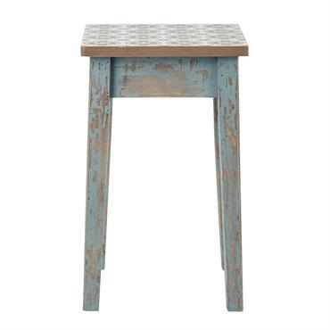 Tabouret en bois patiné bleu ARMELLE
