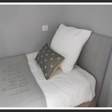 Tête de lit en lin gris