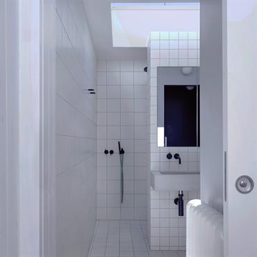BALHAM Vasque de salle de bain - Simon Astridge Architecture Ltd. - Balham / London Vasque rectangulaire sur-mesure, une cuve, deux trous d'evacuation. Fixation encastrees