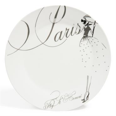 Assiette plate en porcelaine blanche D 27 cm PARIS MODEUSE