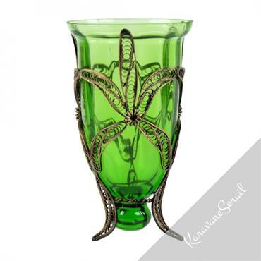 Photophore en verre soufflé de couleur verte