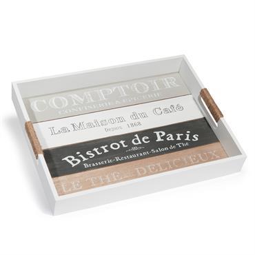 Plateau blanc imprimé30 x 40 cm COMPTOIR DE PARIS