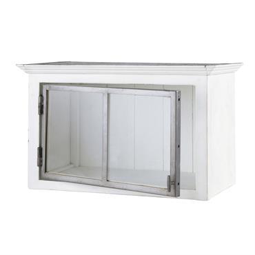 Meuble haut de cuisine ouverture droite en bois recyclé blanc L 66