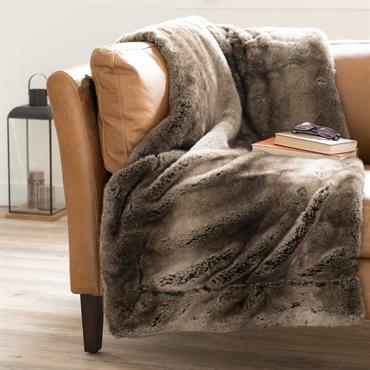 Plaid en fausse fourrure marron 150 x 180 cm SHEFFORD