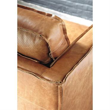 Canapé vintage 3 places en cuir camel Hipster