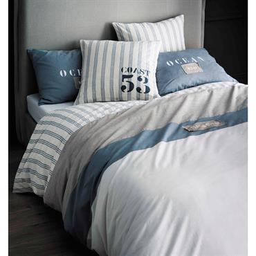 Parure de lit 240 x 260 cm en coton blanche OCÉAN