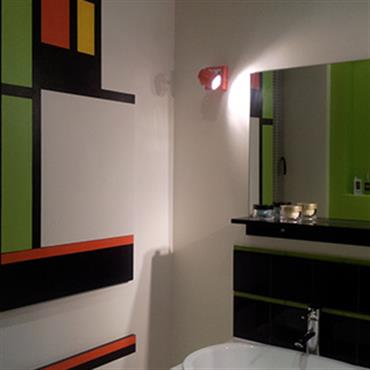 Salle de bain couleur et forme moderne