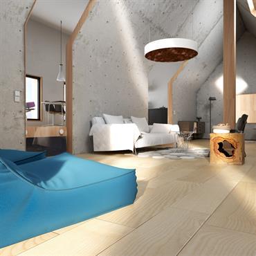 Grande pièce à vivre au style original grâce au mur en béton brut - Vue sur le salon