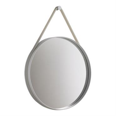 Miroir mural Strap / Ø 50 cm - Hay gris clair en métal