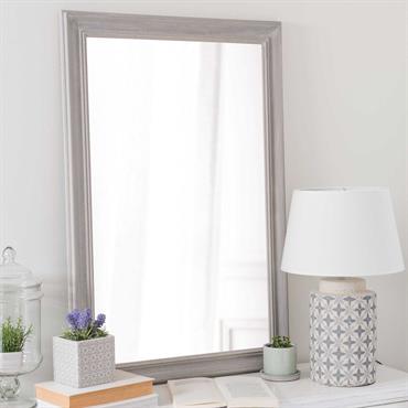 Miroir en bois de paulownia gris H 90 cm EMELINE