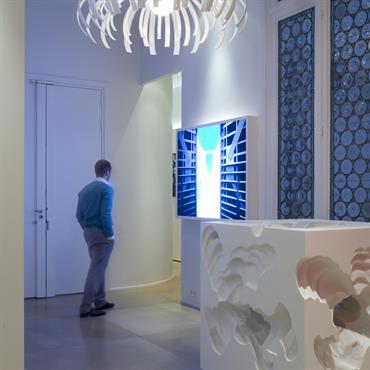 Lumière bleutée, suspension organique et matériaux nobles donnent le ton dans l'entrée.