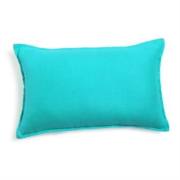 Coussin en lin lavé turquoise 30 x 50 cm